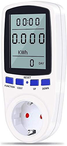 Energiekostenmessgerät, Amperemeter Stromzähler Strommessgerät KWh Zähler Wattmeter Elektrizitäts Analysator mit Überlastsicherung (Weiß)