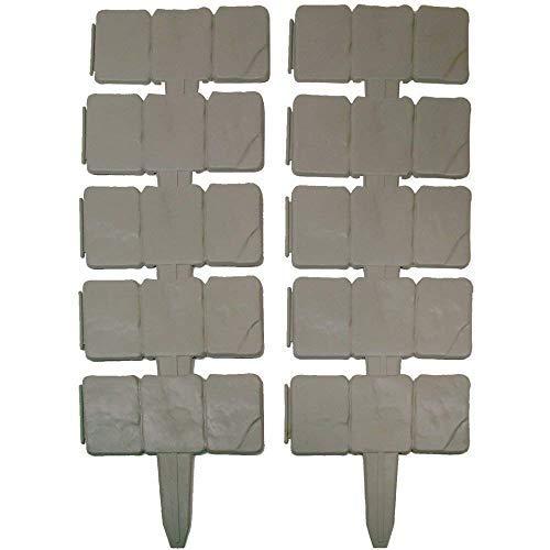 Realmax®, bordura in plastica effetto pietra, 10 pezzi, strutture di sostegno a martello da prato,...