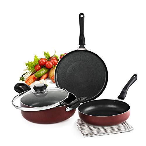 Cello Prima Induction Base Non-Stick Aluminium Cookware Set,...