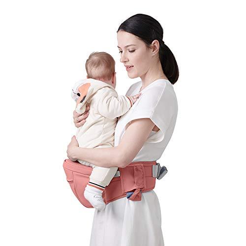SUNVENO Baby Hipseat Carrier, Ergonomic Reduce Waist Hip Seat for Mom, Lightweight Certified Fabrics Soft Carrier for Newborns, Toddlers, Children, 6-48 lbs, Pink