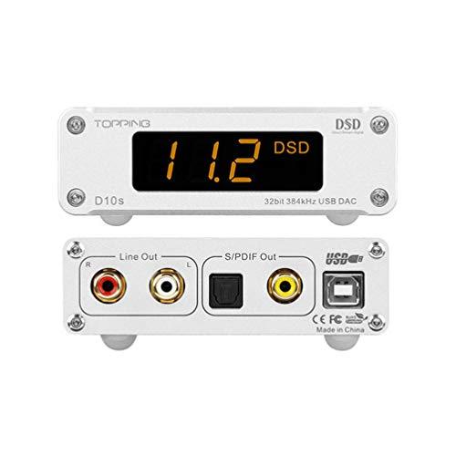 Topping D10s Mini USB DAC AMP HiFi CSS XMOS XU208 ES9038Q2M DSD256 PCM 384kHz Audio Decoder (Silber)