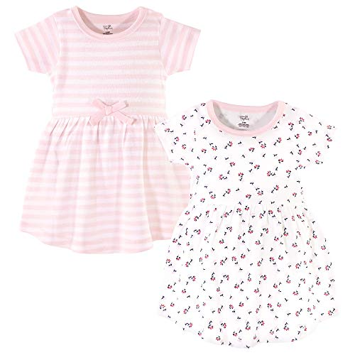 Touched by Nature Baby Girls Organic Cotton Dresses, Tiny Flowers Short Sleeve Pack, 3-6 Months (6M)