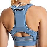 Sujetador Deportivo con Relleno Extraíble Sujetador de Entrenamiento Tops de Yoga Bra Deportivo Alto Impacto Aros Espalda Deportiva Mujer para Yoga Fitness Run Ejercicio (Azul, S)