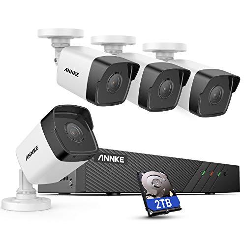 ANNKE POE Kit Telecamera Videosorveglianza 8CH 5MP HD Sistema di Sorveglianza Plug e Play H.265+ Sistema di Sicurezza Videocamere IP Bullet Visione Notturna Accesso Remoto 2TB HDD