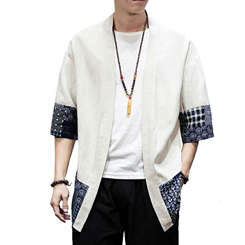 PRIJOUHE Men's Kimono Jackets Cardigan Lightweight Casual Cotton Blends Linen Seven Sleeves Open Front Coat Outwear