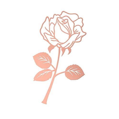 UFREE Segnalibro in metallo a forma di rosa carina segnalibro in acciaio con foglia, ideale come segnalibro per lettori, donne e bambini (oro rosa)