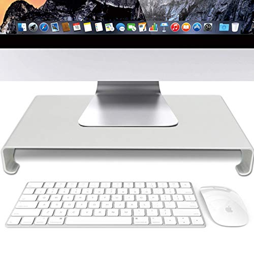 Monitor Stand Riser,Desktop Ergonomic Computer Stand Riser,Aluminum Alloy Computer Monitor Riser,for Home Office Computer Laptop Tablet-Silver 49x21.5x5cm(19x8x2inch)