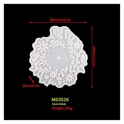 Changskj Moldes de Resina DIY Hoja Flor Reloj Molde de Silicona para Resina UV Epoxi Crystal Hecho A Mano Decoraciones Homes Artesanía (Color : Mold01)