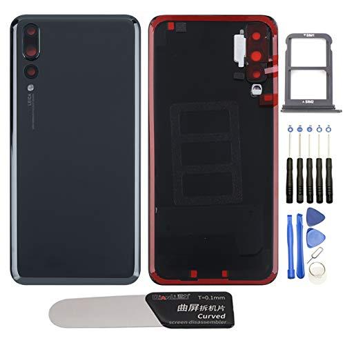 YHX-OU Tapa de batería de 6,1 pulgadas, apta para Huawei P20 Pro, repuesto de la carcasa trasera + herramienta de instalación + 1 tarjeta SIM (negro)