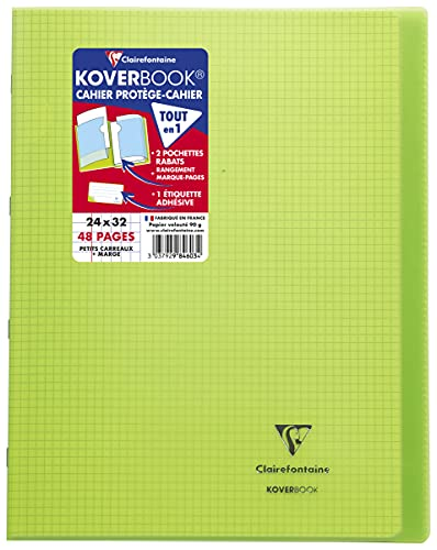Clairefontaine 984603C Un Cahier Agrafé Koverbook Vert - 24x32 cm - 48 Pages Petits Carreaux avec Marge - Papier Blanc 90 g - Couverture Polypro