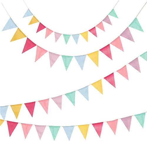 4 Piezas Banderines, Banderín Colorido Estandarte Tela de arpillera Banderín Cadena Guirnalda con Cuerda de Yute de 10M para Fiesta de Bodas Fiesta de cumpleaños de Navidad Fiesta de Baby Shower