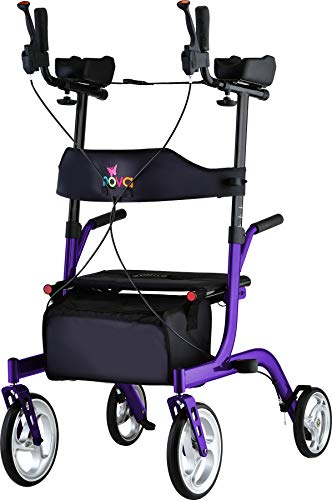 NOVA Medical Products Phoenix Rise UP Rollator Upright Walker with Padded & Contoured Forearm Platform, Purple, 1 Count