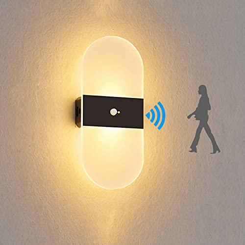 SJNSJN Aplique Pared Interior LED con Sensor de Movimiento y Interruptor, Magnética Lámpara de Pared con Puerto USB + Pilas Recargables Luz Nocturna para Pasillo Escalera Sala (Blanco Cálido 2 piezas)