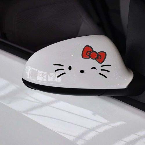 2pcs Good Hello Morning Kitty Kitten Red Bow Graphic Decal Car Auto Side Mirror Sticker Accessories Sticker Mirror Auto Car RV