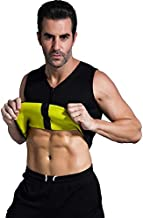 Valentina Mens Hot Thermo Shaper Vest, Slimming Tank Top, Body Fat Burner, Tummy Control Shapewear, Best Exercise Trainer, Workout Sauna Suit for Weight Loss, Black with Zip