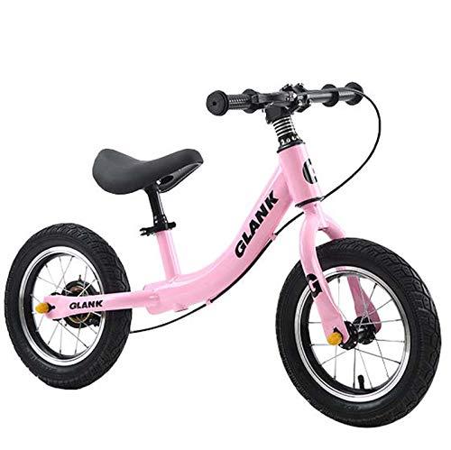 Utron Bicicleta de Equilibrio de 12 Pulgadas, con Freno, primeras Bicicletas de Entrenamiento sin Pedales, Bicicleta de Aprendizaje para niños pequeños y niños de 2 a 6 años,Pink