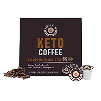 Rapid Fire Caramel Macchiato Ketogenic High Performance Keto Coffee Pods Supports Energy & Metabolism Weight Loss Ketogenic Diet 16 Single Serve K Cup Pods
