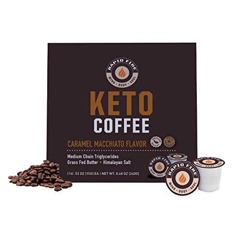 Rapid Fire Caramel Macchiato Ketogenic High Performance Keto Coffee Pods, Supports Energy & Metabolism, Weight Loss, Ketogenic Diet 16 Single Serve K Cup Pods