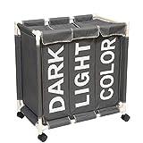 Generic Brands Cesto para la ropa sucia con ruedas y tapa grande (gris, 3 compartimentos)