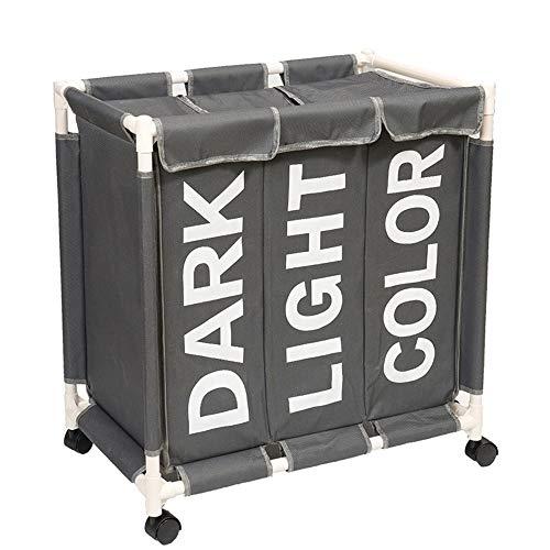 Cestos para la Colada Almacenamiento para Colada Cesta de lavandería colector de Ropa Cesta Multifunción Juguetes Ropa con ruedas y tapa grande grande (gris, 3 compartimentos)