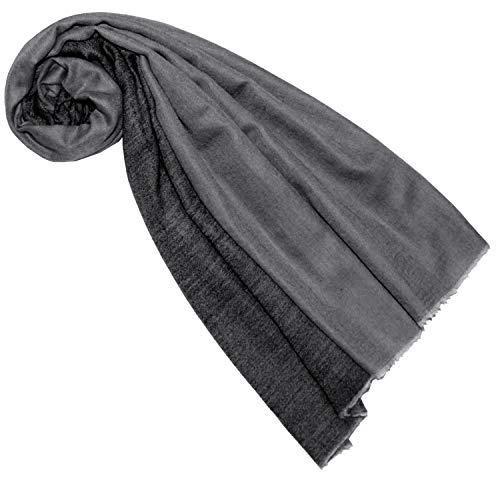 Lorenzo Cana Luxus Damen Schal Wendeschal Schaltuch 100% Kaschmir Kaschmirschal Kaschmirtuch Damenschal Gewebt Zweifarbig, Schwarz-grau, 70 x 200 cm