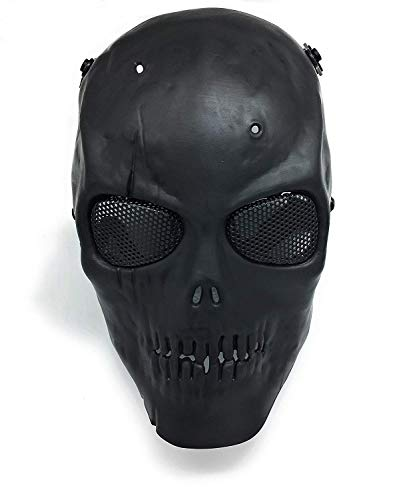CS Schutzmaske Halloween Airsoft Paintball Full Face Skull Skeleton Maske (Schwarz)