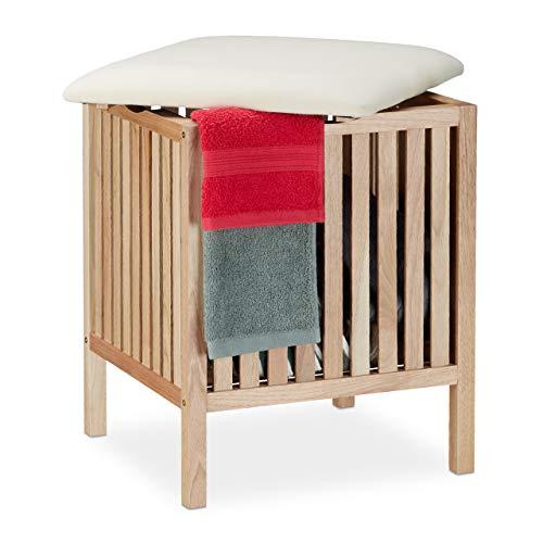 Relaxdays Wäschekorb mit Sitz, Badhocker mit Stauraum, 40 l Wäschesammler, Holz/Stoff, HBT: 51 x 41 x 41 cm, natur/weiß