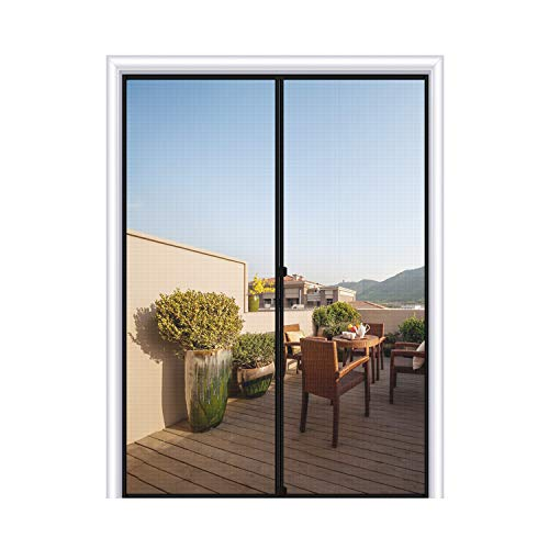 Magnetic Screen Door 48 x 80, Reinforced Fiberglass Mesh Curtain Double Door Mesh with Full Frame Hook&Loop Fits Door Size up to 48'x80' Max-Grey