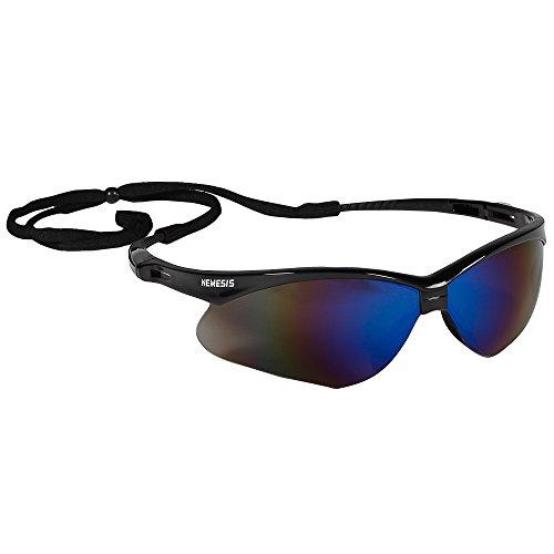 KleenGuard V30 Nemesis Safety Glasses (14481), Blue Mirror Lenses with Black Frame, 12 Pairs per Case