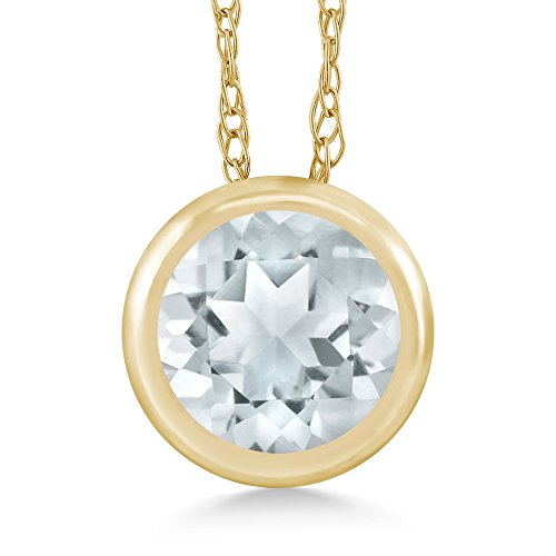 Gem Stone King Sky Blue Aquamarine 14K Yellow Gold Pendant Necklace For Women 0.45 Ct Round Gemstone Birthstone With 18 Inch Chain