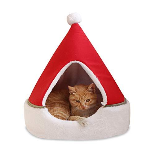 Letto per gatto Grotta per gatti Letto lavabile Letto per animali Divano per cani Divano per gatti Posto letto Sia carino che divertente, e Un buon regalo per il gatto, design cappello da Babbo Natale
