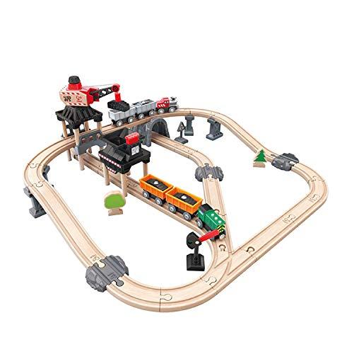 Hape-HAPE-E3756-Circuit Bois-Train de la Mine Circuits de Voitures, E3756, Multicolore, Taille Unique