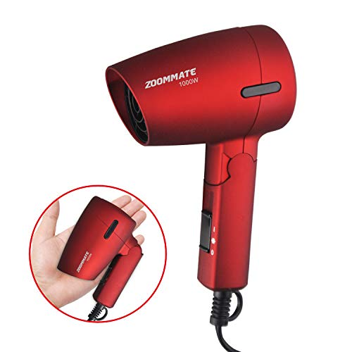 ZOOMMATE Mini Travel Hair Dryer 1000W Compact Folding Handle Blow Dryer with Bag, Hot and Cool, 2 Speed Setting, Safety Protection (Retro Red)