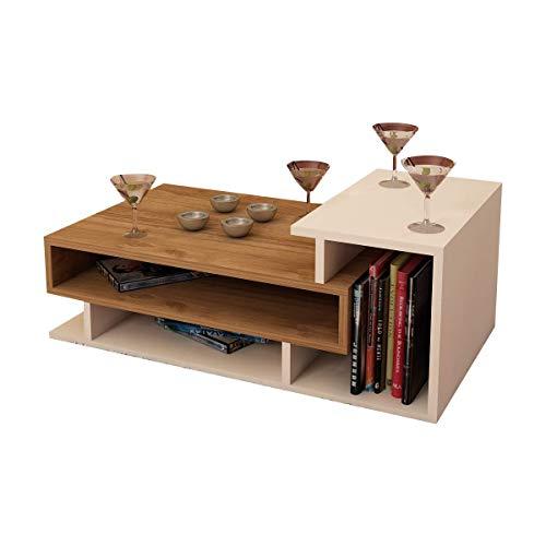 Alphamoebel Couchtisch Beistelltisch Wohnzimmertisch Sofatisch Kaffeetisch, Möbelstück für Wohnzimmer I Spring 3450 I Walnuss Weiß I 90 x 50 x 35 cm