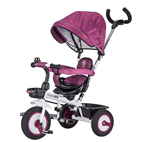 Triciclo para Niños Triciclo para Niños, 4 En 1 Truco De Paseo con Mango De Empuje Ajustable, Dosel Extraíble, Durante 10 Meses A 5 Años.(Color:púrpura)