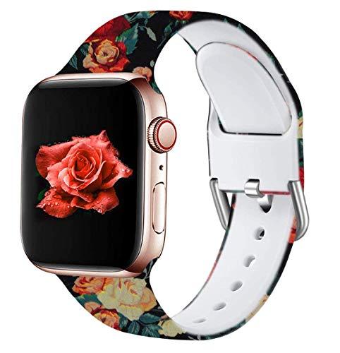 Wepro Kompatibel mit Apple Watch Armband 42mm 44mm, Weiches Silikon Muster Bedruckt Ersatz Armband für iWatch Series 5 4 3 2 1, 42mm/44mm-S/M, Retro Blume