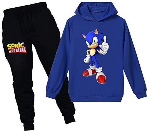 Silver Basic Niños Sudadera con Capucha y Pantalones Traje Sonic The Hedgehog Sudadera con Capucha para Niños Juego Disfraz De Sonic Personajes de la Película 160,Azul Traje de Sonic-2