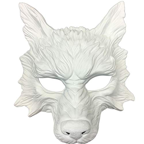Storm buy] Wolf Mask Steampunk Style Scary Horror Devil Wolf Animal Masquerade Halloween Costume Cosplay Party mask (White)