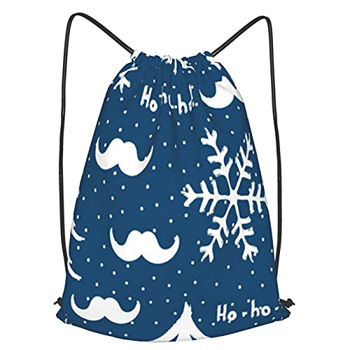Drawstring Backpack Bag,New Year Seamless Pattern Santa Claus Mustache Christmas Trees Snowflakes And Text Ho Ho,Sport Gym Sackpack Cinch Waterproof Bag For School Yoga Gym Swimming Travel Backpack