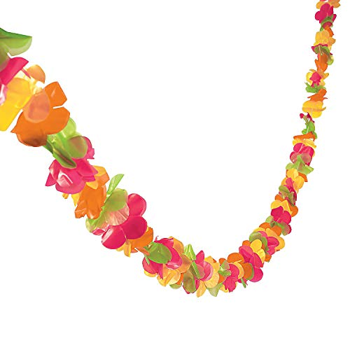 Fun Express - Plastic Lei Garland (100ft) for Party - Party Decor - Hanging Decor - Garland - Party - 1 Piece