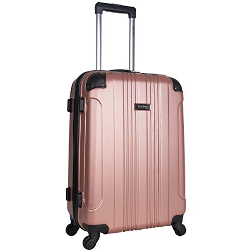 Kenneth Cole Reaction Out Of Bounds Luggage Collection Lightweight Durable Hardside 4-Wheel Spinner Travel Suitcase Bags, Rose Gold, 24-Inch Checked