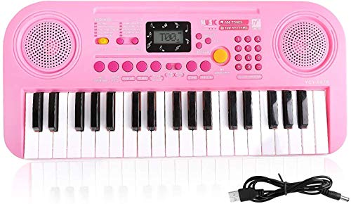 Shayson Klavier für Kinder, 37 Schlüssel-Multifunktions-elektronische Tastatur-Klavier-Spiel-Klavier-Organ mit LCD-Anzeigeschirm-pädagogisches Spielzeug für Kleinkinder Kinderkinder (Rosa)