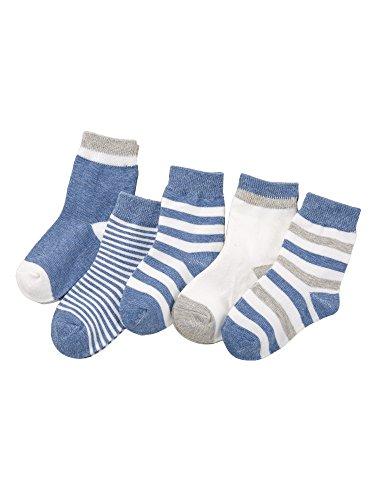 Camilife 5 Paar Baby Kleinkind Jungen Mädchen Baumwolle Socken Set Babysocken Weich Süß und Lieblich - Gestreift Blau 1-3 Jahre alt