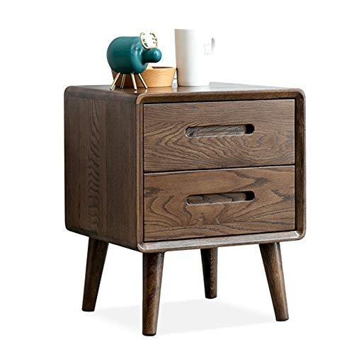 WH nachtkastje massief hout slaapkamer eiken kast eenvoudige moderne twee pompen hout kleur ladekast