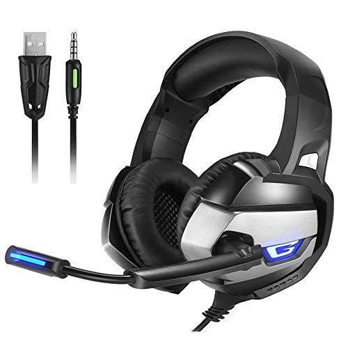 YUIK Beste Gaming Headset Gamer casque Deep Bass Gaming Hoofdtelefoon voor Computer PC PS4 Laptop Notebook met Microfoon LED, Grijs