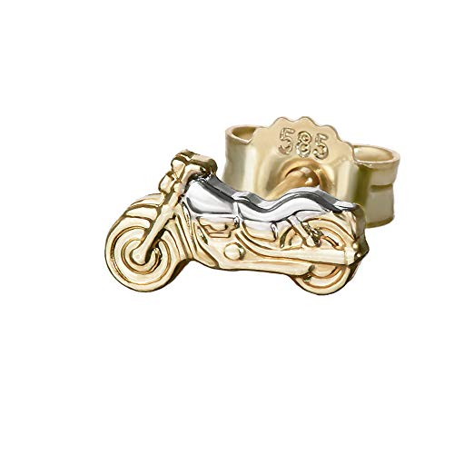 NKlaus Einzel kleine Motorrad 585er Gold 14 Karat Ohrstecker Bicolor 8*4mm Ohrring 4836