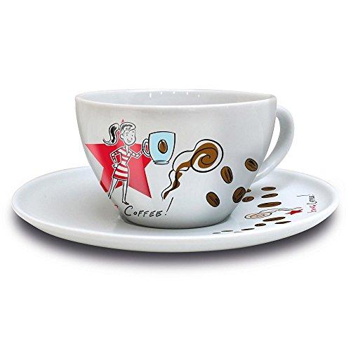 Ritzenhoff COFFEE LOVE Cappuccinotasse mit Untertasse, Ian D. Marsden (Frau), Frühjahr 2016, 3300006 / Design Cappuccino Tasse