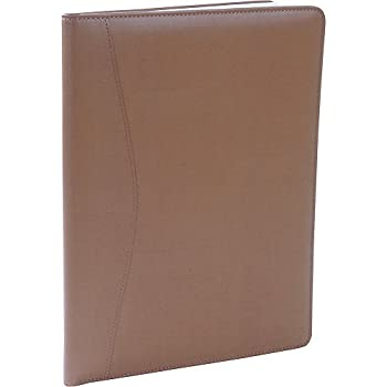 Royce Leather Writing Portfolio Padfolio Presentation Folder Business Case with Inserted Note Pad and Folder for Documents  Tan