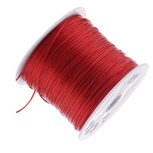 LOVIVER Cordón de Hilo Elástico de 0,5 Mm Que Rebordea para Hacer Joyas, Pulseras Artesanales - Rojo, Individual