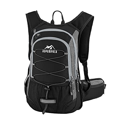 RUPUMPACK Insulated Hydration Backpack Pack with BPA Free 2L Water Bladder - Keeps Liquid Cool Up to 4 Hours, Fit Outdoor Gear for Hiking, Running, Cycling, Camping, Skiing, 15L (Black Grey New)